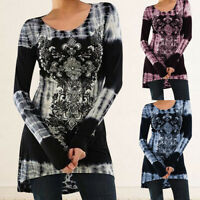 Summer Women Loose Long Sleeve Casual Blouse Shirt Tunic Tops Blouse Pullover #@