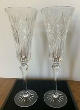 2  Cristal D'Argues Clear Cut Crystal Vincennes Champagne Toasting Flutes France