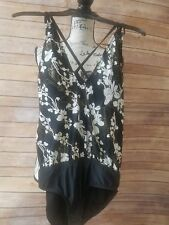 NWT WOMENS ANTONIO MELANI BLACK,  WHITE AND GOLD SWIM BATHING SUIT  sz M $110