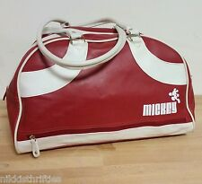 Vintage Disney Mickey Mouse Vinyl Bowler Duffle Tote Bag Red and White Vegan
