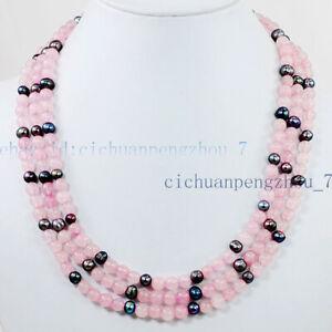 3 Rows Natural 5-6mm Black Baroque Pearl & 6mm Pink Rose Quartz Necklace 17-19''