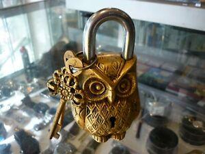 DESIGNER BRASS OWL SHAPED DECORATIVE PAD LOCK AND KEYS - AU STOCK!!