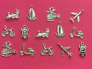 Tibetan Silver Mixed Transport Themed Charms - 14 per pack