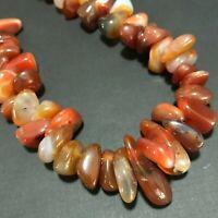 Polished Carnelian Banded Agate Chunky Beads Lapidary Boho Necklace 919s