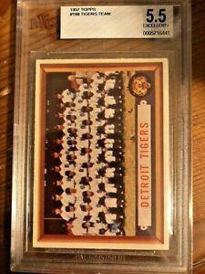 1957 Topps Baseball Card #198 Detroit Tigers Team Card BVG 5.5