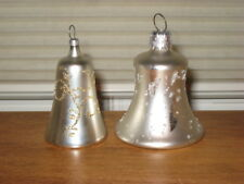 2 Sizes Of Different Vintage Glass Silver Bells