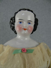 """23"""" antique German Kister China shoulder head Doll w Leather Arms need attached"""