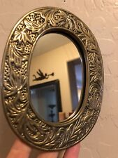 "Vintage Crowning Touch Collection Etched Brass Metal Mirror 6"" Wall Hanging"