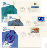 United Nations 1974 set of 3 Airmail First Day Covers #C19-21 Fleetwood Cachets
