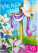 NEW LARGE EVERGREEN EASTER FLAG HE HAS RISEN BELIEVE 2-SIDED TEXT 29 x 43