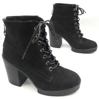 Select Women's Ladies, Black Suede Ankle Boots, Lace Up, Zip Back, Size UK 5