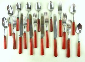 Vtg Bakelite Stainless Flatware Knives,Forks,Spoons 19Pcs Red Ridged Handles S30