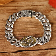 Mens Real 925 Sterling Silver Bracelets Link Copper Eye Cross Braided Clasp 7.5""