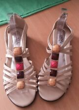Ladies sandals size 40 cream LIZA BRAND with bling embellishment