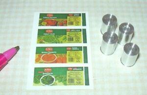 Miniature Qty. 4 Brand Canned Foods KIT (Set #1): DOLLHOUSE Miniatures 1:12
