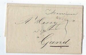 1814 Ostend Belgium Straightline Stampless, to Ghent