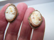 Earrings - Excellent! - 520a Vintage Antique Shell Cameo Screwback