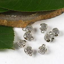40pcs Tibetan silver tone flower  spacer bail connector h2462