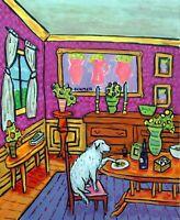GREAT PYRENEES dog  art print animals impressionism gift new modern 11x14
