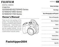 FujiFilm FINEPIX S2500 S2700HD S1800/S1900 S1600/S1700 DIGITAL CAMERA MANUAL CD