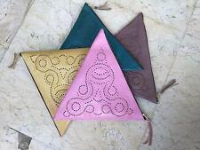 Genuine leather boho ethnic hippie handmade hand tooled Triangle clutch purse