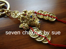Feng Shui - Golden 3 Legged Toad with Six Gold Coins Keychain (Wealth)