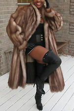 Mint Designer Full length Stone Marten Sable Fur coat Stroller  Sz L-XL 10-18