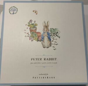 POTTERY BARN BEATRIX POTTER PETER RABBIT GARDEN SALAD PLATES SET OF 4 MULTI NEW