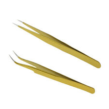2pcs Precision Tweezers Fine Point Stainless Steel for Eyelash Extension
