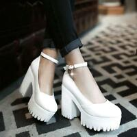Fashion Punk womens vintage ankle strap chunky heel platform roman pump US4-11