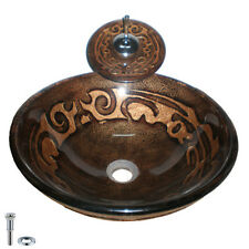 Modern Dark Brown Round Gold-patterned Bathroom Vessel Sink and Faucet Combo