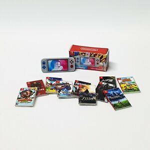 TOY Miniature Nintendo Switch Lite PKM + 10 Games | 1/12 Scale | Dolls house