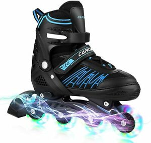 Caroma Inline Skates for Kid Adult Adjustable Roller Blades with Light Up Wheels