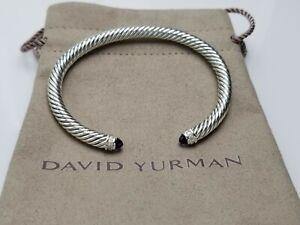 David Yurman Cable Classic Amethyst & Diamonds 5mm Cable Cuff Bracelet medium