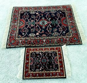 Vintage Lot of 2 Dollhouse Miniature Oriental Rugs Fringed Rubber Back Quality