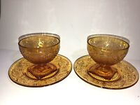 Set 2 Vintage Amber Pressed Colored Glass Dessert Sherbet Bowl w Matching Plates