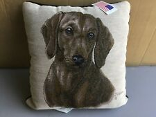 "USA NWT Judy Gibson Dacshund 17"" x 17"" Tapestry Throw Pillow #559"