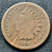 1866 Indian Head Cent RARE Key Date - Mid Grade One Penny #5244