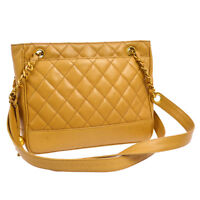 Auth CHANEL CC Quilted Chain Shoulder Tote Bag Beige Caviar Skin AK25519i