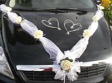 NEU 3tlg Autoschmuck wetterfest Autogirlande Hochzeit Brautauto Autogesteck