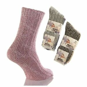 3 Pairs Women's Ladies Thick Soft Wool Blend Boot Socks Walking Hiking Ski Warm