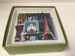 6 Crate & Barrel Square Travel City Appetizer Plates London Paris Venice Tokyo