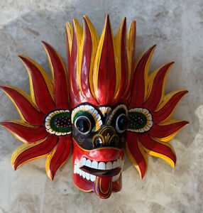Oriental Handmade Colorful  Wooden Mask From Sri Lanka Painted Bali style