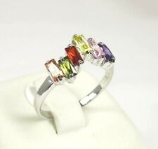 R#1610 simulated Multicolored gemstone ladies silver ring size 9