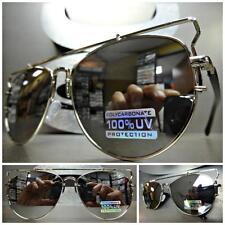 CLASSIC VINTAGE Style SUN GLASSES Silver Black Flat Top Frame Chrome Mirror Lens