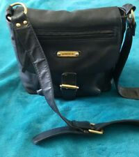 ANNAPELLE Black Leather Hobo Boho Bag Handbag Cross body