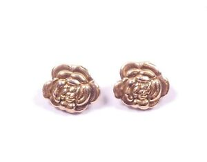 Rose Flower Earrings Clip On Vintage Hollow Puffed Sterling Silver 5.2g