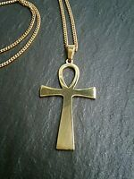 "Egyptian Ankh Cross Necklace Gold Stainless Steel Ancient Life Symbol 16""-24"" UK"