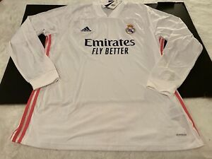 Adidas Real Madrid 20/21 Long Sleeve Home Jersey Mens Sz 2XL White Pink FQ7473