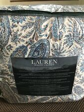 Ralph Lauren Paisley Blue Beige King Comforter Shams Set 3 ~New~